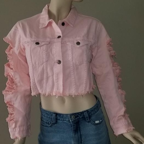 Juniors Hot  Brand New Oversized Distressed Denim Patch Floral Ripped Jacket